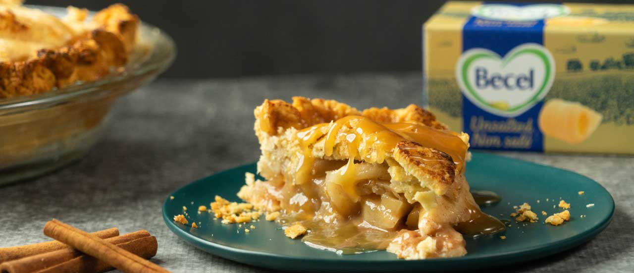 Try this delicious Plant-Based Salted Caramel Apple Pie Recipe from Becel