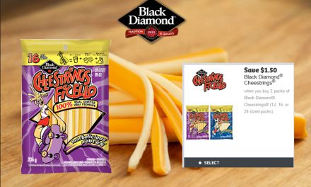 Save $1.50 when you buy 2 packs of Black Diamond Cheestrings (12, 16, or 28 sized-packs)